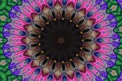 Mandalakunst, geometrischer Kaleidoskopanordnung Mandala-Tapetenhintergrund lizenzfreie abbildung