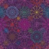 Mandalalinje modell för färgrik symmetri för stråle sömlös stock illustrationer
