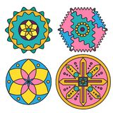 Mandalals y círculos coloridos abstractos Elementos decorativos del diseño ilustración del vector