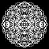 Mandalamodellvit Royaltyfri Illustrationer