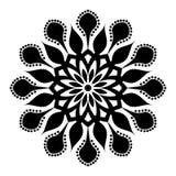 Mandalamusterschwarzes ein Hintergrund Auch im corel abgehobenen Betrag Meditationselement f?r Indien-Yoga Verzierung f?r die Ver stock abbildung