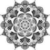 Mandalamusterschwarzweiss-Gekritzelskizze lizenzfreie abbildung