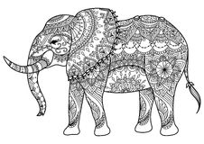 Mandalaolifant royalty-vrije illustratie