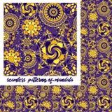 Mandalapatroon op purple Royalty-vrije Stock Fotografie