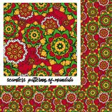 Mandalapatroon op rood Royalty-vrije Stock Fotografie
