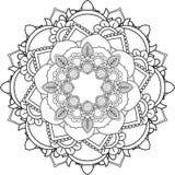 Mandalas, που επισύρει την προσοχή με το χρωματισμό των γραμμών, στο άσπρο υπόβαθρο ροή Στοκ εικόνα με δικαίωμα ελεύθερης χρήσης