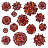 Σύνολο mandalas, στρογγυλή εθνική διακόσμηση Εκλεκτής ποιότητας πρότυπο δαντελλών Διανυσματικό υπόβαθρο κύκλων Στοκ Φωτογραφίες
