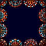 Ζωηρόχρωμο πλαίσιο mandalas λουλουδιών κύκλων μπλε σε κόκκινο και το πορτοκάλι, διάνυσμα Στοκ φωτογραφία με δικαίωμα ελεύθερης χρήσης