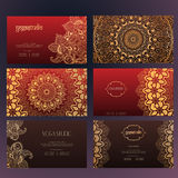 Mandalas business card 4 yoga Royalty Free Stock Photography