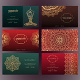 Mandalas business card 4 yoga Royalty Free Stock Photos