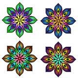 Mandalas coloreadas de la mandala cuatro fijadas Fotografía de archivo