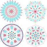 Mandalas coloridas fijadas stock de ilustración