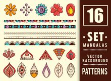16 mandalas colors boho style set. Vector illustration design Royalty Free Stock Photo