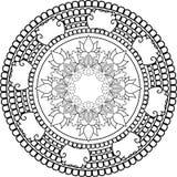 Mandalas da meditação, tirando com linhas de coloração, no backg branco Imagens de Stock Royalty Free