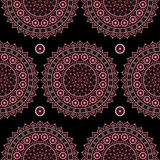 Mandala vector seamless pattern, Aboriginal dot painting design, Australian folk art boho style repetitive background. Mandalas decoration in pink inspired by Royalty Free Illustration