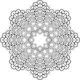 Mandalas, drawing with coloring lines, on white background. Flow Royalty Free Stock Photo