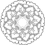 Mandalas, drawing with coloring lines, on white background. Flow Royalty Free Stock Photography