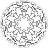 Mandalas, drawing with coloring lines, on white background. Flow Royalty Free Stock Images