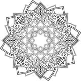 Mandalas, drawing with coloring lines, on white background. Flow Stock Photo
