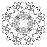 Mandalas, drawing with coloring lines, on white background. Flow Royalty Free Stock Image