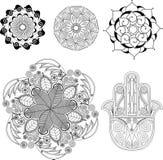 Mandalas et ensemble de chant religieux Image stock
