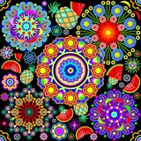 Mandalas & Exotic Fruits Pattern Royalty Free Stock Photo