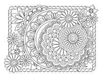 Mandalas and flowers in the frame Royalty Free Stock Photos