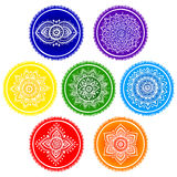 Mandalas indias bohemias del chakra Estilo del tatuaje de la alheña del vintage Imagenes de archivo