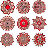 Mandalas of love. Drawing of a set of red mandalas in indian style Royalty Free Stock Image