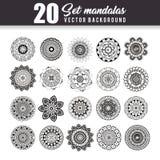 20 mandalas monochrome boho style set. Vector illustration design Stock Images