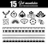 15 mandalas monochrome boho style set. Vector illustration design stock illustration