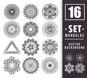 16 mandalas monochrome boho style set. Vector illustration design Stock Photos