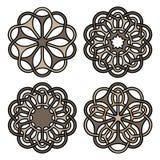 Mandalas ou ensemble de symboles fleuris de tatouage Illustration de vecteur illustration stock