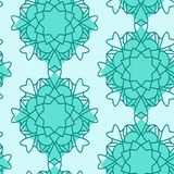 Mandalas seamless pattern in green color combiantion . stock illustration