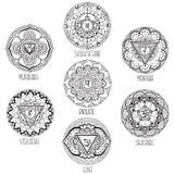 9 mandalas style mihendi. Symbolizing chakras Vector Illustration