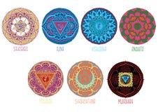 9 mandalas style mihendi. Symbolizing chakras Stock Illustration