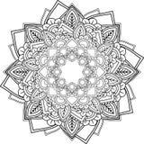 Mandalas, tirando com linhas de coloração, no fundo branco fluxo Foto de Stock