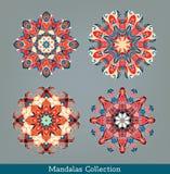 Mandalas ustawiający kwiecisty deseniowy round Fotografia Royalty Free