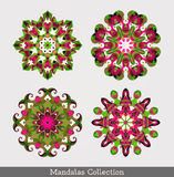 Mandalas ustawiający kwiecisty deseniowy round Zdjęcie Royalty Free