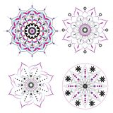 4 Mandalas Vector blue ,pink ,yellow ,purple and black outline on white background vector illustration