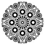 Mandalaschwarzweiss-Vektorkunst, australischer Punkt, der dekoratives Design, eingeborene Volkskunstböhmeart malt Lizenzfreies Stockfoto