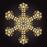 Mandalasnöflingaguld, stam- tappningbakgrund med en medaljong royaltyfri illustrationer