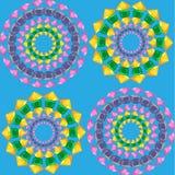 Mandalaspatroon naadloos op blauw vector illustratie