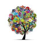 Mandalaträdet som är blom- skissar för din design royaltyfri illustrationer