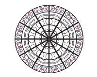 Mandalavektorillustration Rundes dekoratives Designmit blumenmuster Stockbild