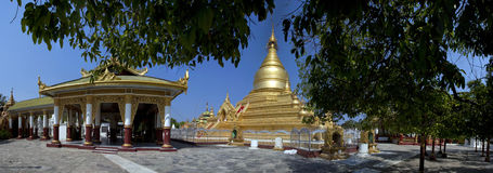 Mandalay. Panorama of Kuthodaw Pagoda in Mandalay Stock Image