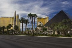 Mandalay Bay and The Hotel with Egyptian Pyramid Royalty Free Stock Photo