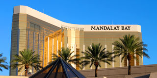 Mandalay Bay Resort and Casino. Las Vegas, USA - August 19, 2009: The Mandalay Bay Resort and Casino opened in 1999 in Las Vegas, Nevada.  Seen here is the Stock Images