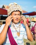 Mandalay - December 5 handelaars in de markt Royalty-vrije Stock Afbeelding