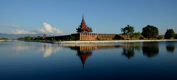 Mandalay fort. View at towers of the Mandalay Fort, Myanmar stock photo